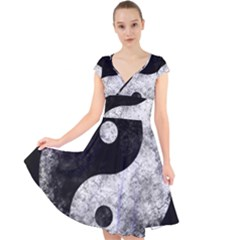 Grunge Yin Yang Cap Sleeve Front Wrap Midi Dress