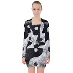 Grunge Yin Yang V Neck Bodycon Long Sleeve Dress
