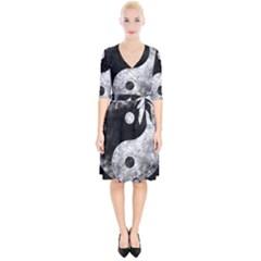 Grunge Yin Yang Wrap Up Cocktail Dress