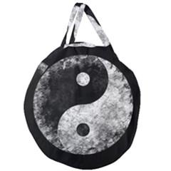 Grunge Yin Yang Giant Round Zipper Tote