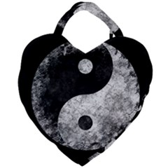 Grunge Yin Yang Giant Heart Shaped Tote