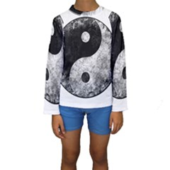 Grunge Yin Yang Kids  Long Sleeve Swimwear