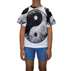 Grunge Yin Yang Kids  Short Sleeve Swimwear