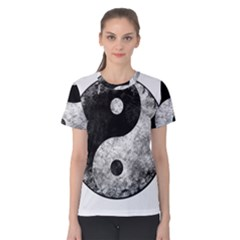 Grunge Yin Yang Women s Cotton Tee