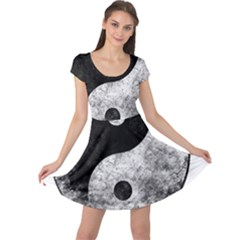 Grunge Yin Yang Cap Sleeve Dress
