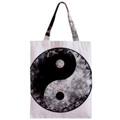 Grunge Yin Yang Zipper Classic Tote Bag