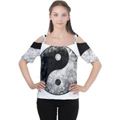 Grunge Yin Yang Cutout Shoulder Tee
