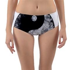 Grunge Yin Yang Reversible Mid Waist Bikini Bottoms