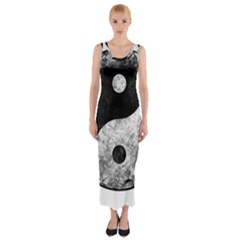 Grunge Yin Yang Fitted Maxi Dress