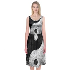 Grunge Yin Yang Midi Sleeveless Dress