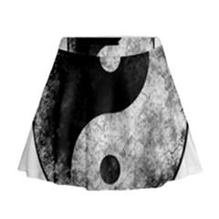 Grunge Yin Yang Mini Flare Skirt