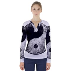Grunge Yin Yang V Neck Long Sleeve Top