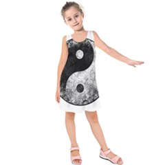Grunge Yin Yang Kids  Sleeveless Dress