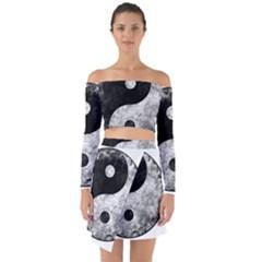 Grunge Yin Yang Off Shoulder Top With Skirt Set