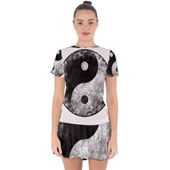 Grunge Yin Yang Drop Hem Mini Chiffon Dress