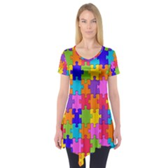 Colorful 10 Short Sleeve Tunic