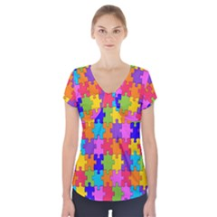 Colorful 10 Short Sleeve Front Detail Top