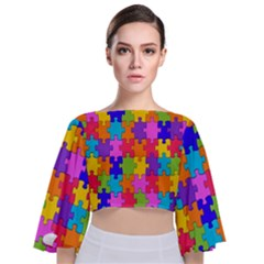 Colorful 10 Tie Back Butterfly Sleeve Chiffon Top