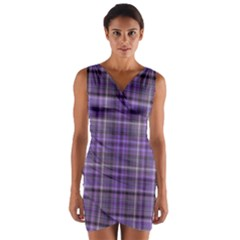 Purple  Plaid Wrap Front Bodycon Dress