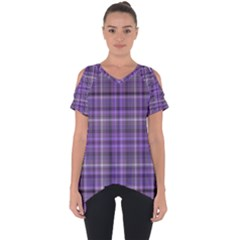 Purple  Plaid Cut Out Side Drop Tee