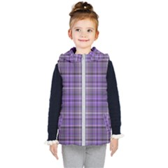 Purple  Plaid Kid s Hooded Puffer Vest
