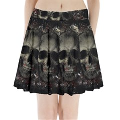 Skull Pleated Mini Skirt