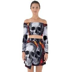 Skull Off Shoulder Top With Skirt Set