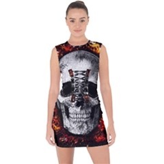 Skull Lace Up Front Bodycon Dress