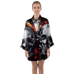 Skull Long Sleeve Kimono Robe