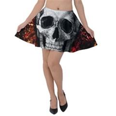 Skull Velvet Skater Skirt