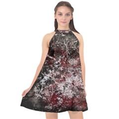 Grunge Pattern Halter Neckline Chiffon Dress