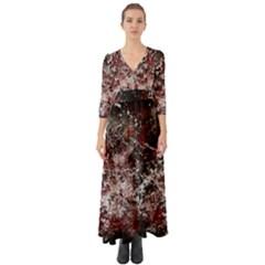 Grunge Pattern Button Up Boho Maxi Dress