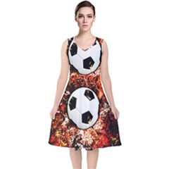 Football  V Neck Midi Sleeveless Dress