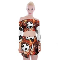Football  Off Shoulder Top With Mini Skirt Set