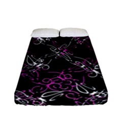Dark Intersecting Lace Pattern Fitted Sheet (full/ Double Size)