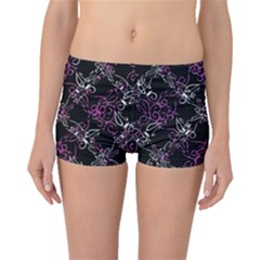 Dark Intersecting Lace Pattern Boyleg Bikini Bottoms