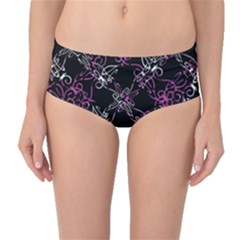 Dark Intersecting Lace Pattern Mid Waist Bikini Bottoms