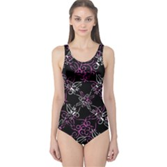 Dark Intersecting Lace Pattern One Piece Swimsuit
