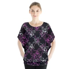 Dark Intersecting Lace Pattern Blouse