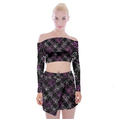 Dark Intersecting Lace Pattern Off Shoulder Top With Mini Skirt Set
