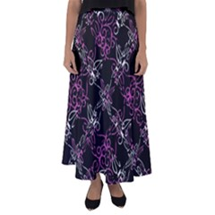 Dark Intersecting Lace Pattern Flared Maxi Skirt