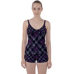 Dark Intersecting Lace Pattern Tie Front Two Piece Tankini