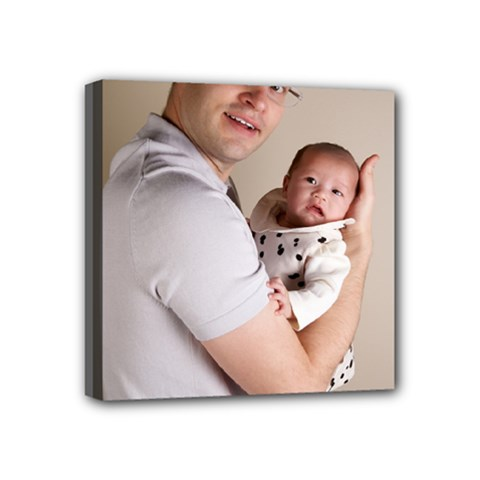 Father and Son Hug Mini Canvas 4  x 4  (Stretched)
