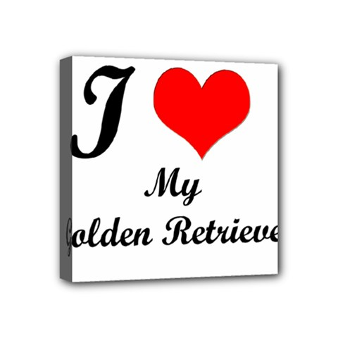 I Love Golden Retriever Mini Canvas 4  x 4  (Stretched)