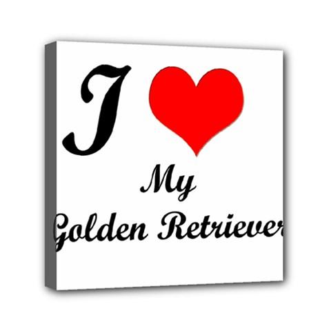 I Love Golden Retriever Mini Canvas 6  x 6  (Stretched)