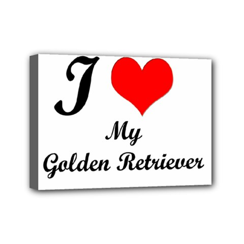 I Love Golden Retriever Mini Canvas 7  X 5  (stretched)