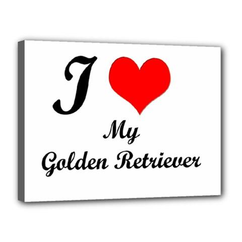 I Love Golden Retriever Canvas 16  X 12  (stretched)
