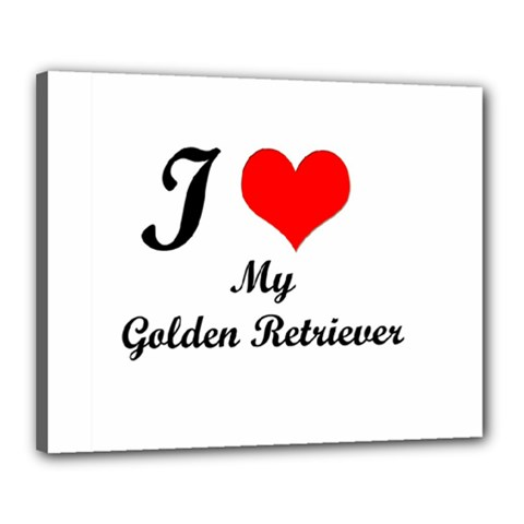 I Love Golden Retriever Canvas 20  x 16  (Stretched)