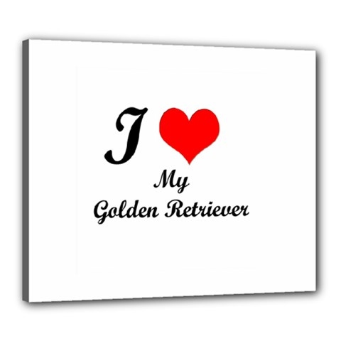 I Love Golden Retriever Canvas 24  x 20  (Stretched)