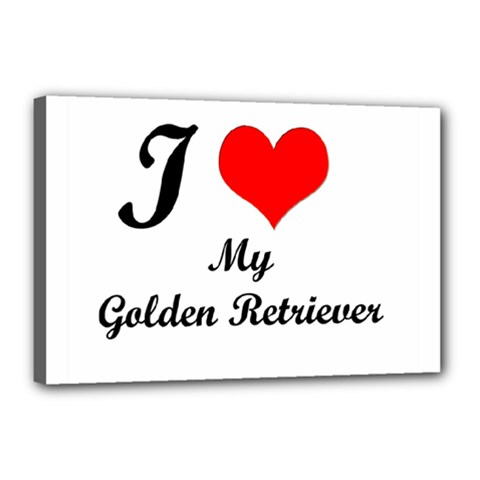 I Love Golden Retriever Canvas 18  x 12  (Stretched)